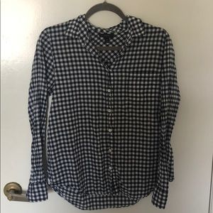 Navy and white gingham button up from J. Crew